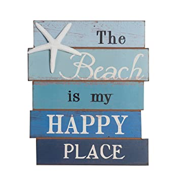 NIKKY HOME The Beach Is My Happy Place Holz Wand Deko Schild 20 X 1,