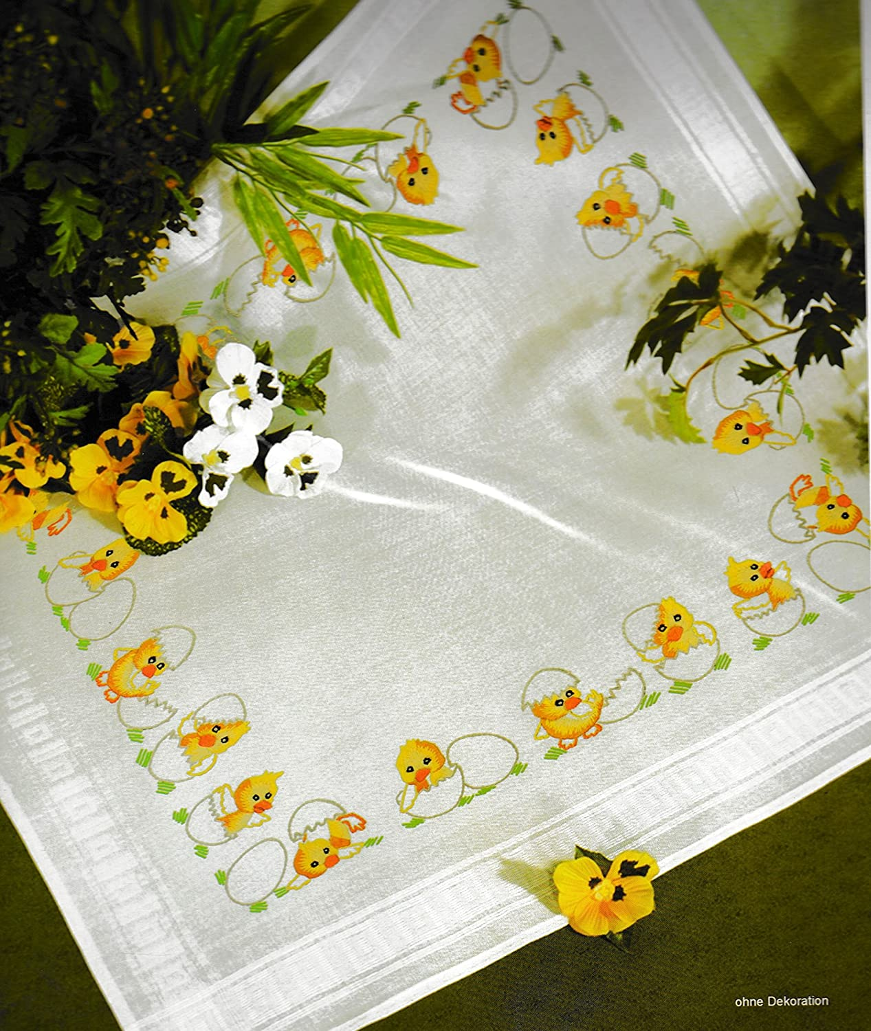 Roses II 6824 Printed Stamped Cross Stitch Tablecloth Kit for Embroidery