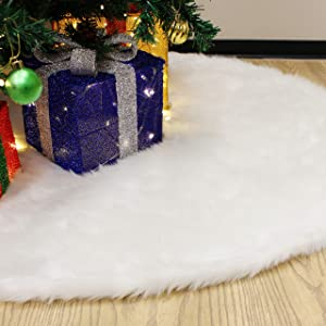 "JOYIN 48"" Faux Fur Christmas Tree Skirt(Snowy White) for Holiday Tree Decorations"
