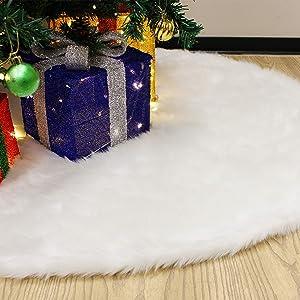 "JOYIN 48"" Faux Fur Christmas Tree Skirt(Snowy White) for Holiday Tree Decorations"