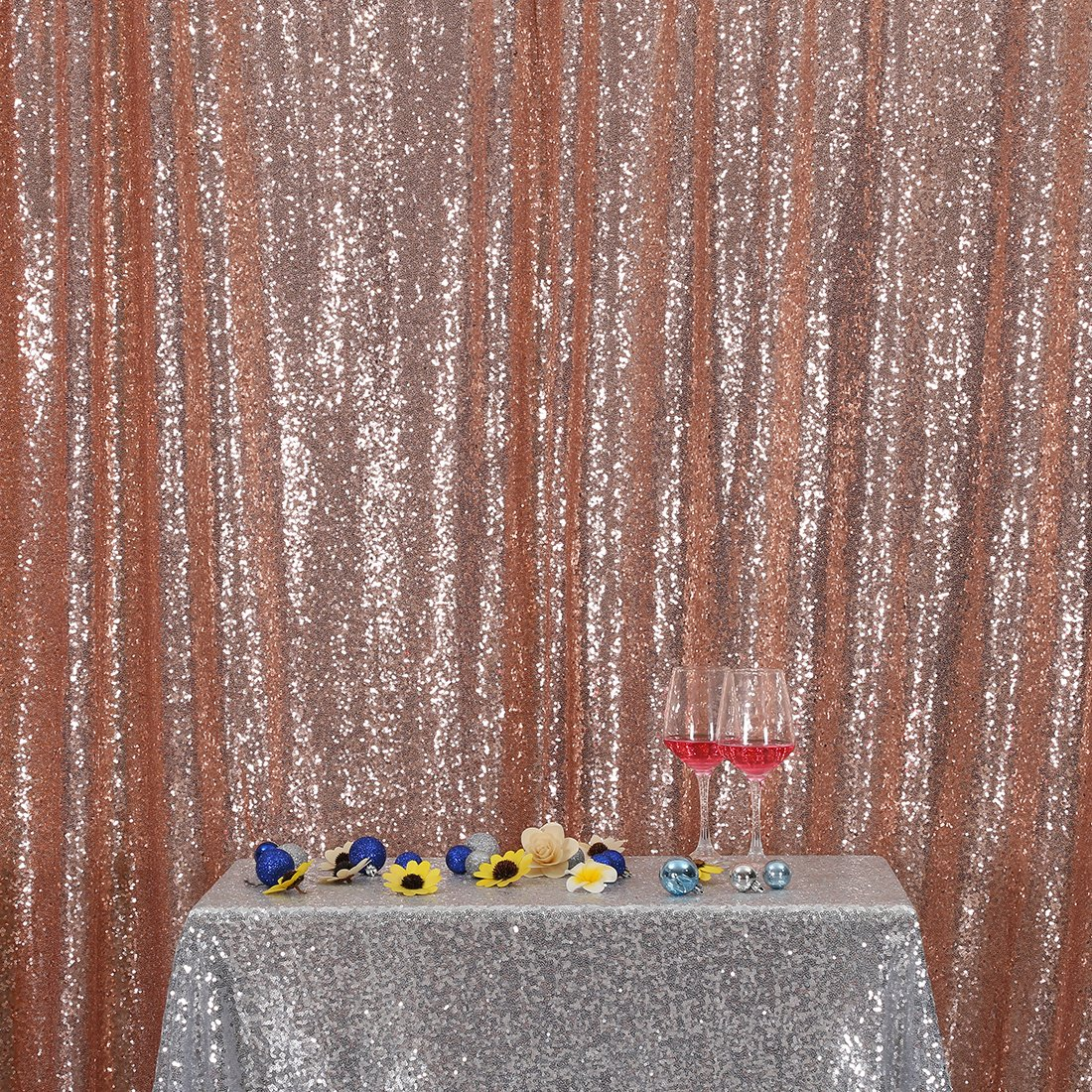 3E Home 10FT x 20FT Sequin Photography Backdrop Curtain for Party Decoration, Rose Gold