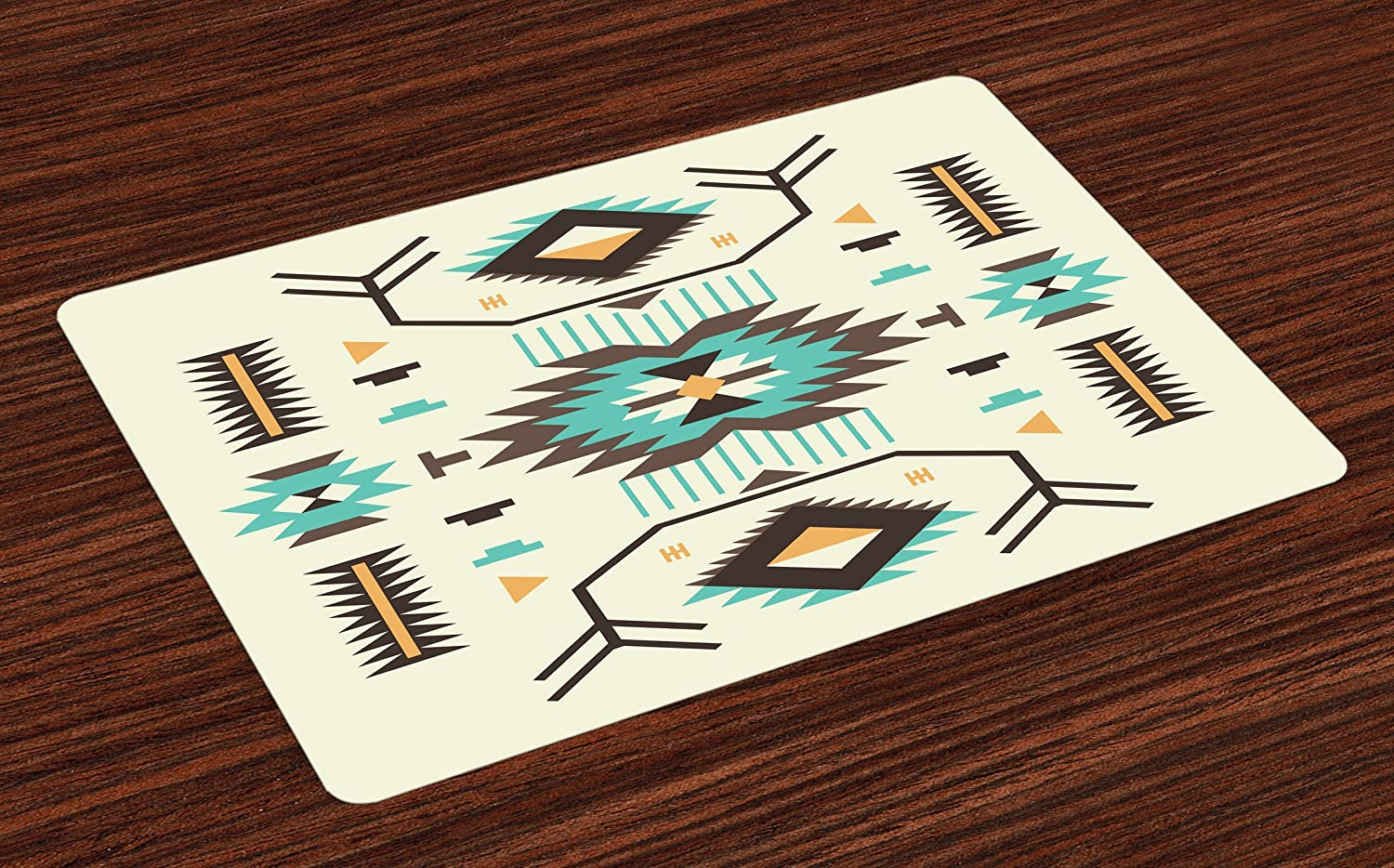 Ambesonne Southwestern Place Mats Set of 4, Ethnic Pattern Design from Ancient Aztec Culture with Indigenous Zigzag Motifs, Washable Fabric Placemats for Dining Room Kitchen Table Decor, Multicolor
