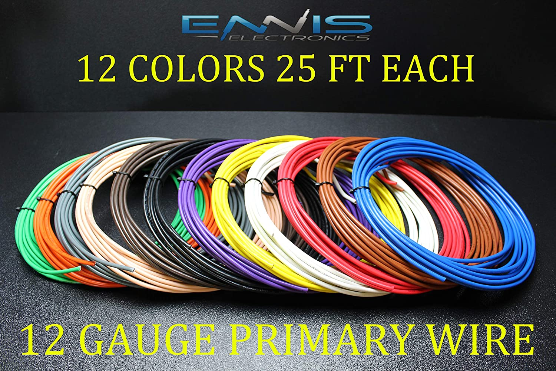 12 Gauge Wire ENNIS ELECTRONICS 25 FT EA 12 Colors Cable AWG Copper CLAD 300 FT