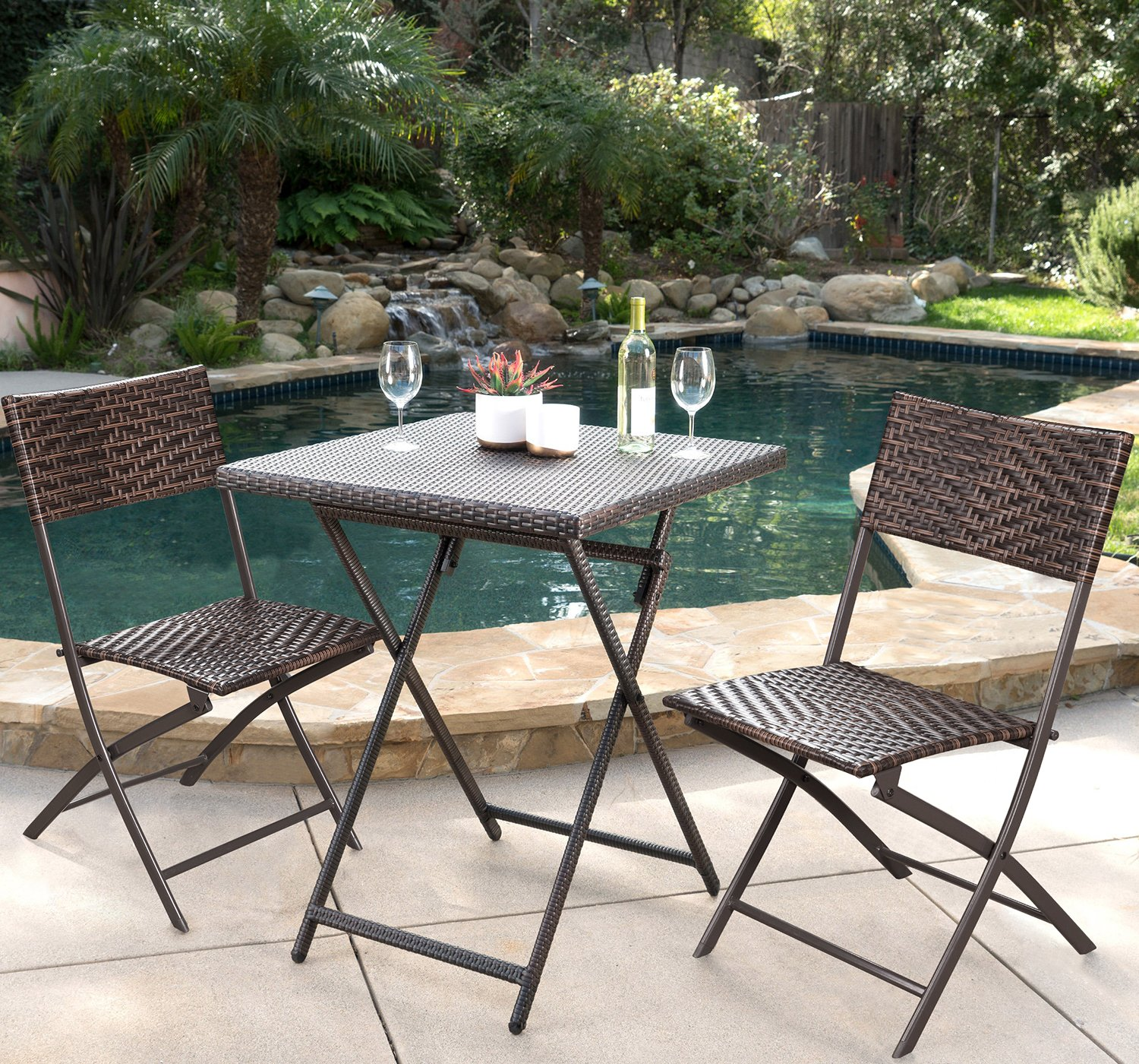 Devoko Rattan Patio Dining Chair 4 Pieces Space Saving Deck Camping Chairs Garden Pool Beach Lawn Using Outdoor Folding Chair (Brown) by Devoko (Image #6)