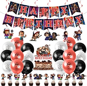 Birthday Party Decorations for Stranger Things,Bundle of 39 Stranger Things Themed Party Supplies Set includes Happy Birthday Banner,Cake Topper,Balloons and Hanging Swirls for Kids Party Decorations