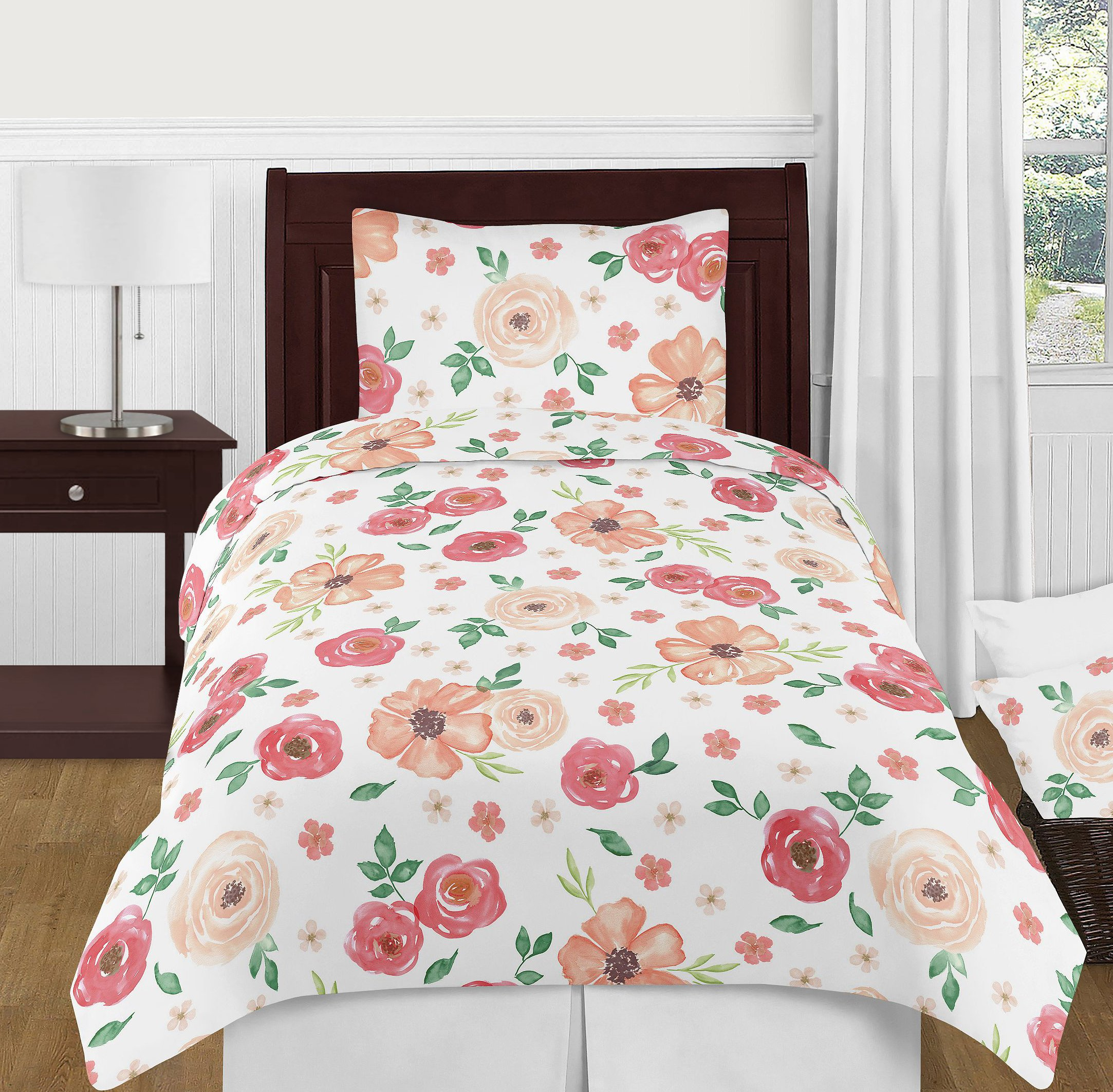 Sweet Jojo Designs Gold and White Polka Dot Pleated Twin Bed Skirt Dust Ruffle for Watercolor Floral Collection by Sweet Jojo Designs (Image #2)