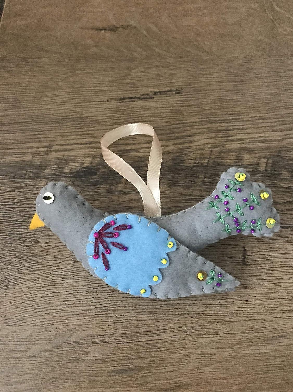 Handmade felt decoration hanging ornament pigeon