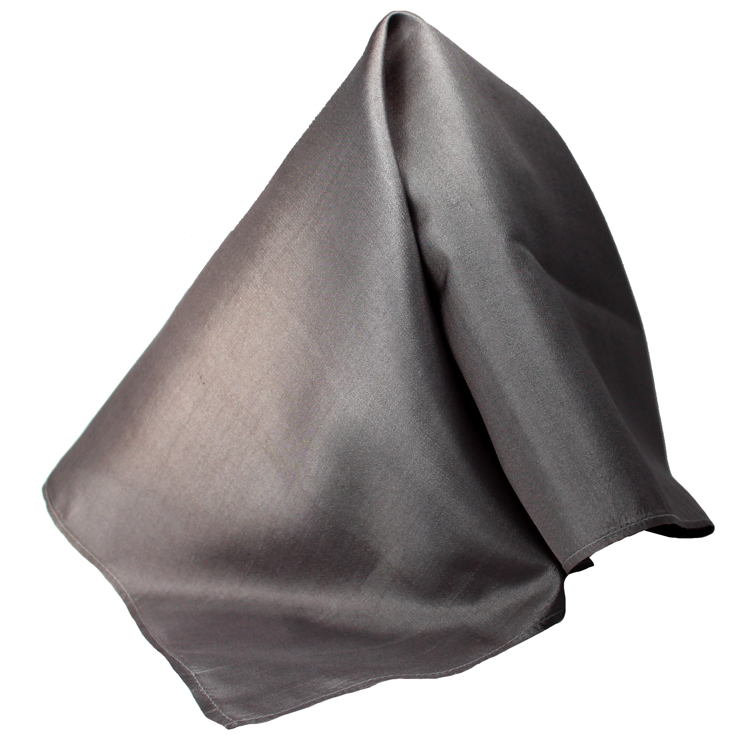 Fine Deep Taupe Silk Pocket Square - Full-Sized 16''x16''