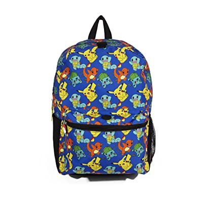 Pokemon All Over Print 16 inch Blue Backpack with Multi Characters including Pikachu | Kids' Backpacks