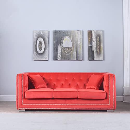 DIVANO ROMA FURNITURE Modern Tufted Velvet Fabric Sofa with Nailhead Trim Red