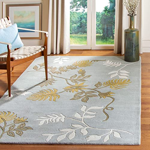 Safavieh Soho Collection Handmade Light Blue Premium Wool Square Area Rug 8' Square