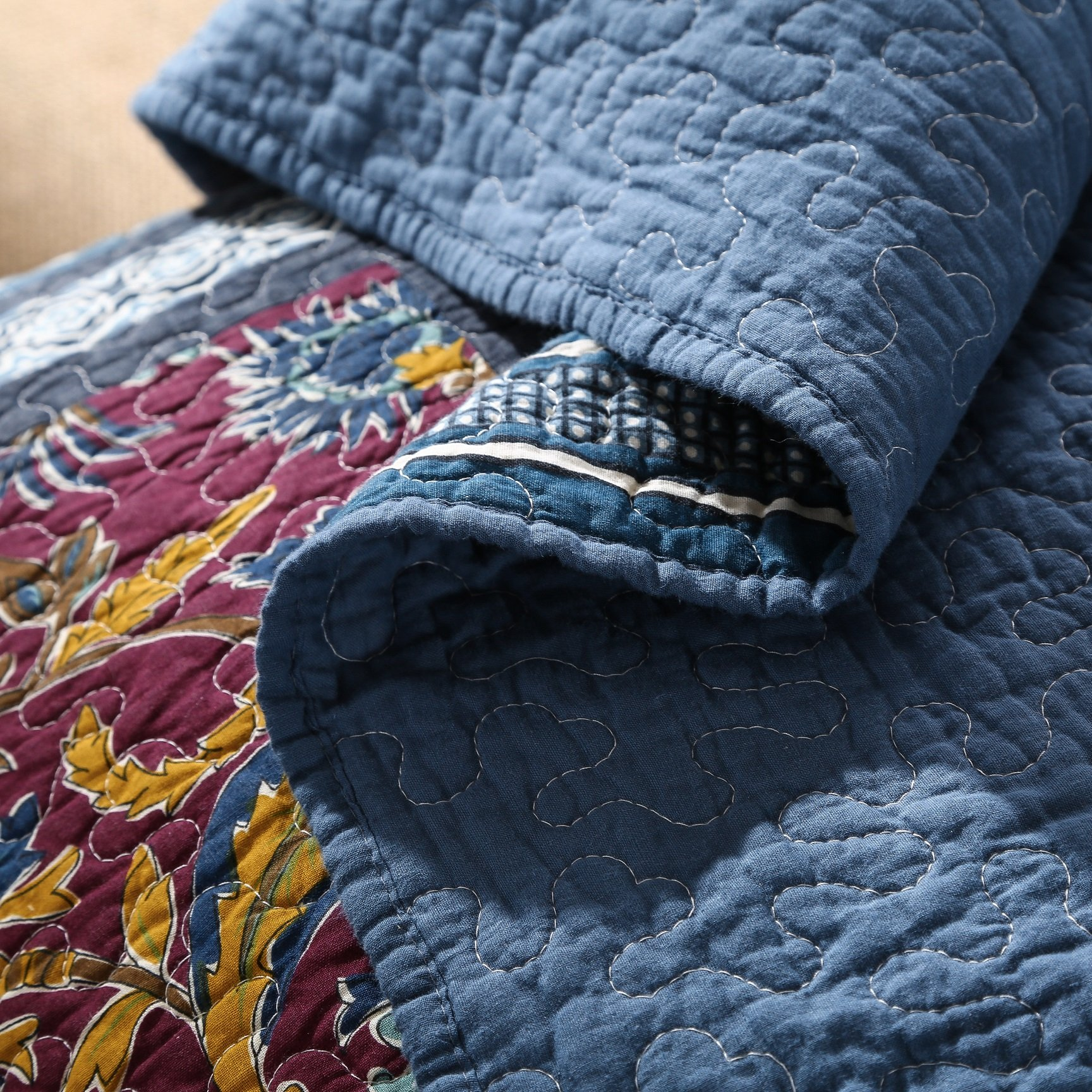 DaDa Bedding Bohemian Midnight Ocean Blue Sea Reversible Real Patchwork Quilted Bedspread Set - Dark Navy Floral Multi-Color Print - Queen - 3-Pieces by DaDa Bedding Collection (Image #5)