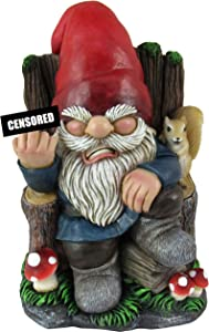 World of Wonders - Gnaughty Gnomes Series - Wrong Side of The Garden - Collectible Indoor Outdoor Grumpy Gnome on Throne Offensive Middle Finger Statue Home Decor Garden Patio Accent, 6-inch