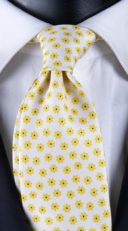 Corbata de hombre con impresión blanca con fantasía floral ...