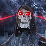 """Prextex 60"""" Animated Hanging Grim Reaper Skull with Shackles Chains Best Halloween Decoration Prop"""