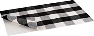 Buffalo Plaid Rug   Buffalo Check Outdoor Rug   Black and White Checkered Outdoor Rug   Front Door Mat   Porch, Kitchen & Indoor Rugs   Cotton Welcome Rug   Washable 24x36 Inches + Bonus Anti-Slip Mat