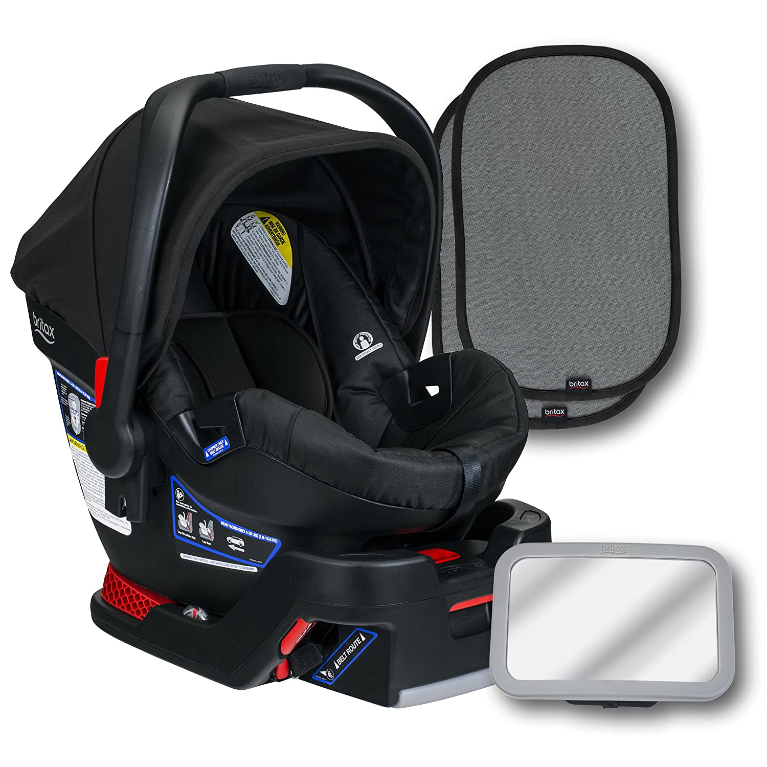 Britax B-Safe 35 Infant Car Seat, Raven, Back Seat Mirror, and 2 EZ-Cling Window Sun Shades Britax USA E1A988Y