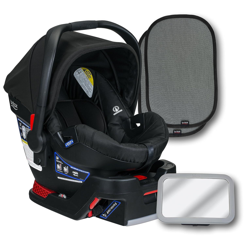 Britax B-Safe 35 Infant Car Seat, Cardinal, Back Seat Mirror, and 2 EZ-Cling Window Sun Shades Britax USA E1A988Z