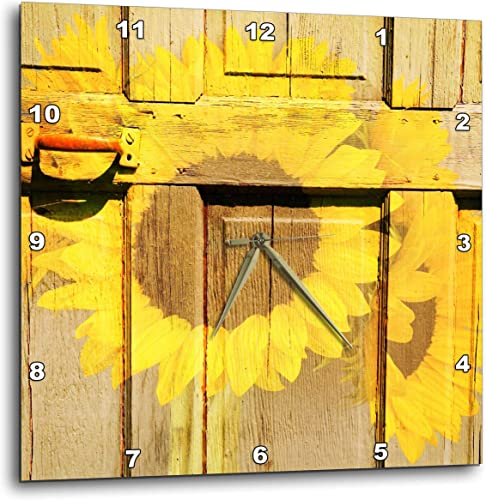 3dRose dpp_57848_2 Rustic Yellow Sunflowers and a Door-Inspired Flowers-Wall Clock, 13 by 13-Inch