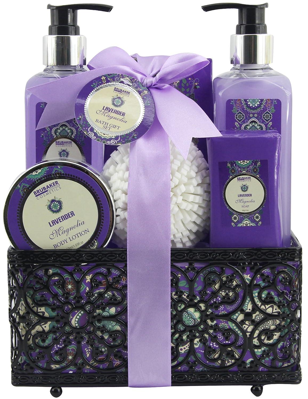 BRUBAKER Cosmetics Set da bagno 'Lavender & Magnolia' - Profumo di Magnolia Lavanda - set regalo da 7 pezzi in cestino decorativo