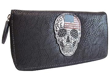 Damen Totenkopf Geldbörse Geldbeutel Brieftasche Portemonnaie