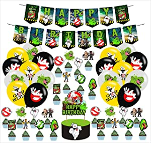 Ghostbusters Birthday Party Supplies,Ghost Busters Inspired Happy Birthday Banner,Ghostbuster Movie Video Game Link Party Decorations for Kids Adults Ghostbusters Theme
