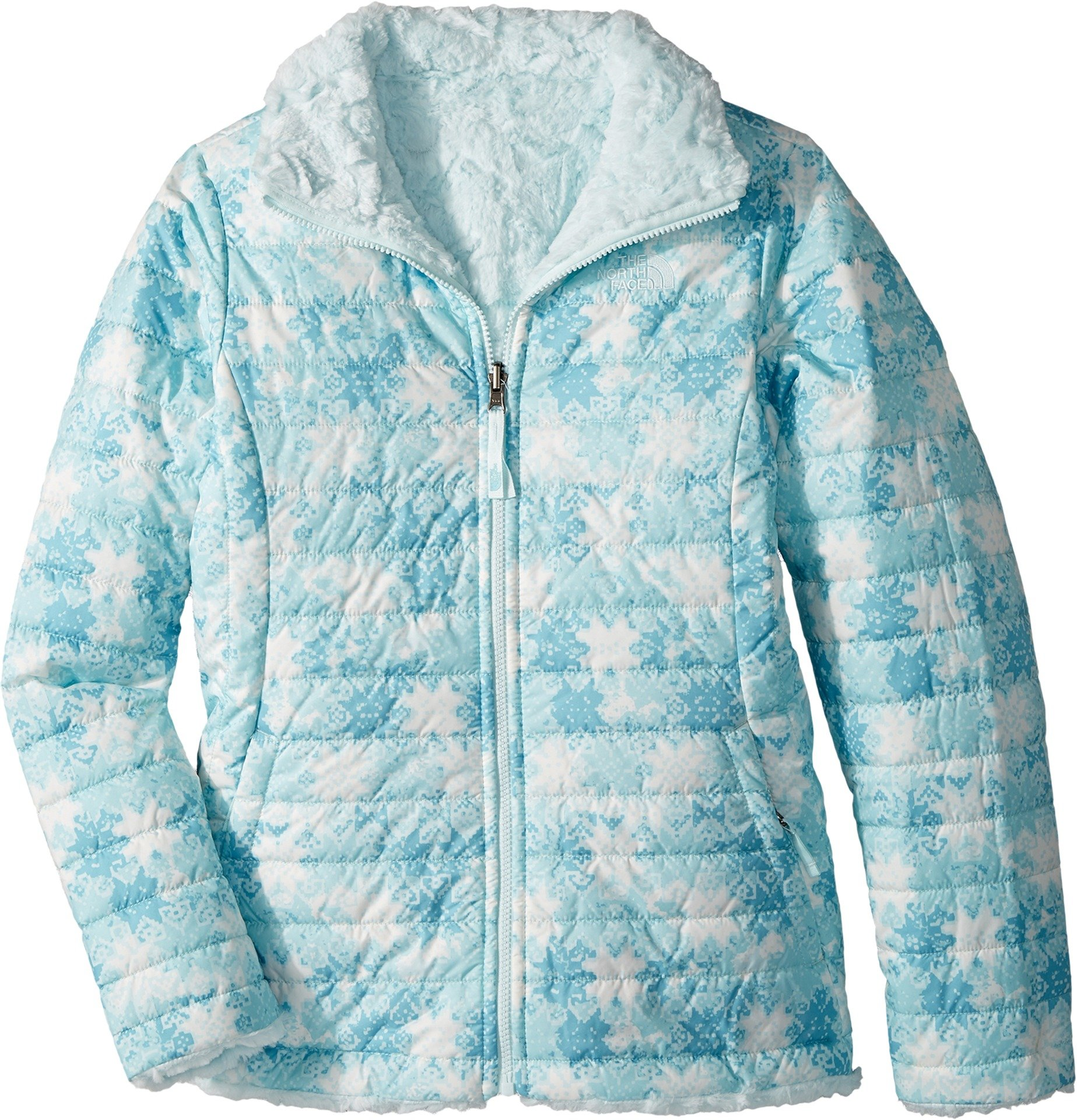 The North Face Girl's Reversible Mossbud Swirl Jacket - Original Blue Snowflake Fair Isle Print - M (Past Season)