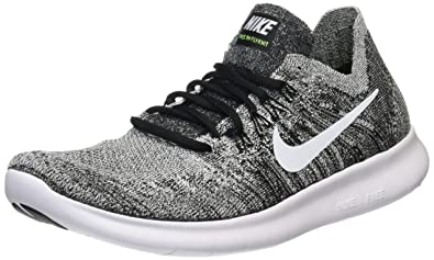 NIKE Men's Free RN Flyknit 2017, Black/White-Volt, ...