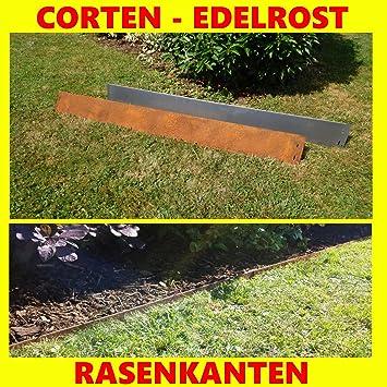 10x Rasenkanten Corten Stahl schmal 18 cm Mähkante Beeteinfassung ...