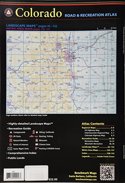 Highway Of Legends Colorado Map.Amazon Com Benchmark Colorado Road Recreation Atlas 3rd Edition