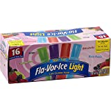 Flavor Ice Light Sugar Free Freezer Jumbo Pops 16 Ct 2 Oz- New Larger Size.- Sweet Popsicle Treat for Low Carb Diet Watchers