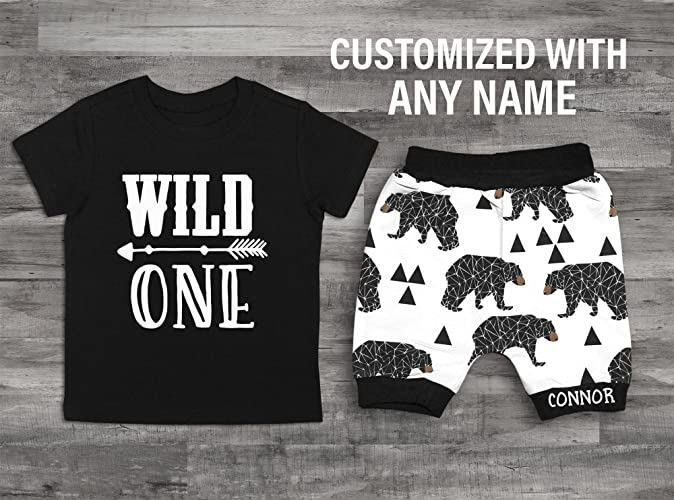 Amazon Baby Boys 1st Birthday Outfit Wild One Bear Shirt Handmade