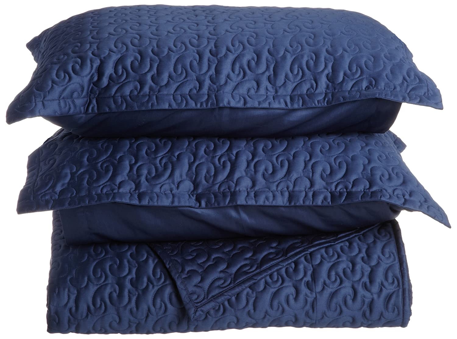Amazon.com: Tuscany Fine Italian Linens Egyptian Cotton Quilted Coverlet  Set, King, Navy Blue: Home U0026 Kitchen