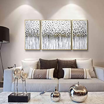 ARTLAND White Flower Oil Painting 3D Abstract Wall Art with White Gold  Decor,Blossom Paintings Framed Wall Art for Living Room Bedroom Bathroom  Office ...