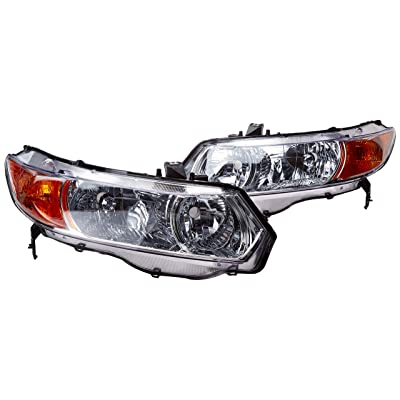 Spec-D Tuning 2LH-CV062-RS Honda Civic 2dr Chrome Crystal Headlights Clear Head Lamps
