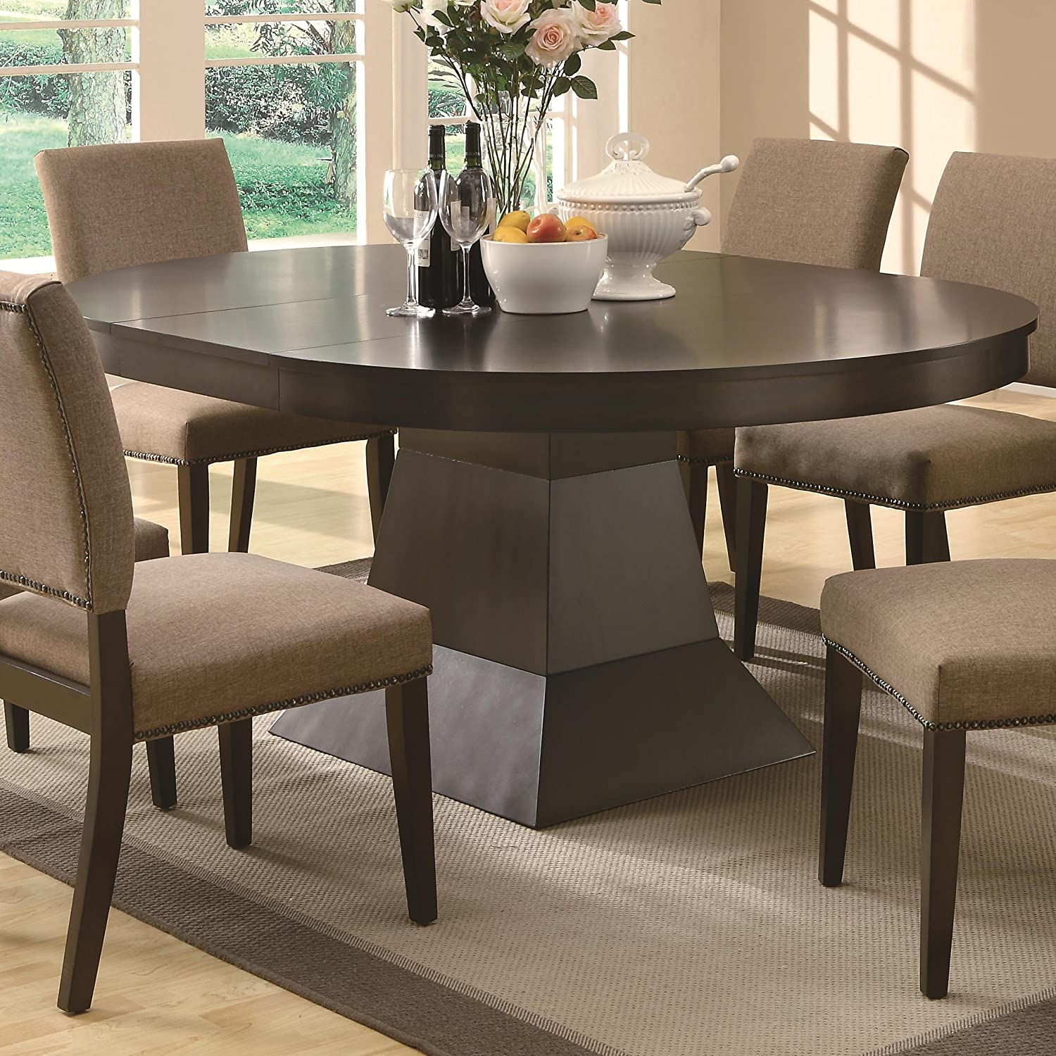 Amazon Myrtle Dining Oval Table w Extension In Coffee Brown