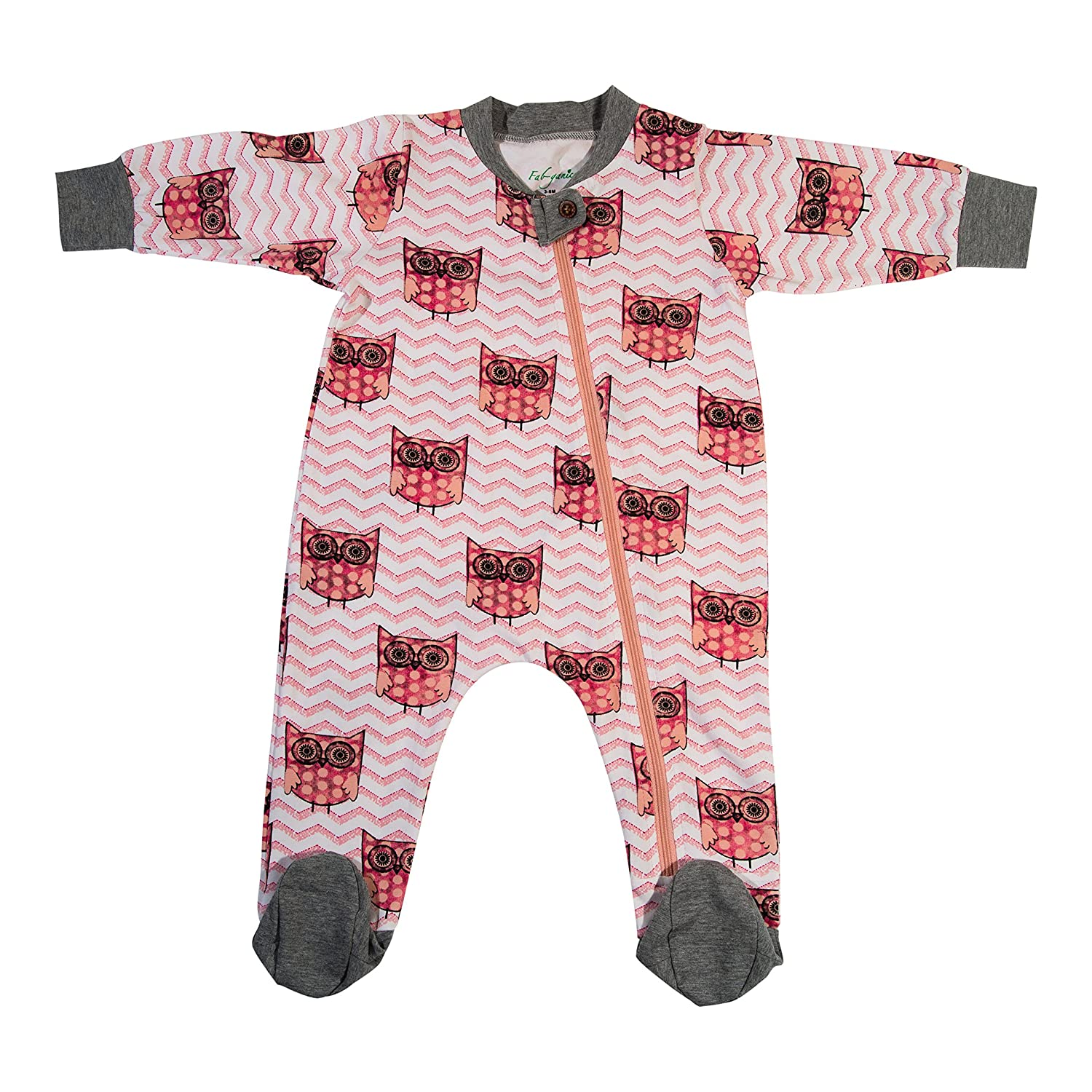 Fab-ganics Organic Cotton Baby Girls Romper Pajama Sleeper-full zipper/footie