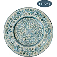 Mother Of Pearl Inlay Wood Charger Plates for Dining, Party, Wedding Reception and Decoration