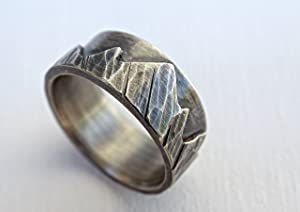silver mountain range ring, outdoor wedding ring silver promise ring, sterling silver wedding band custom, individual mountain ring for men