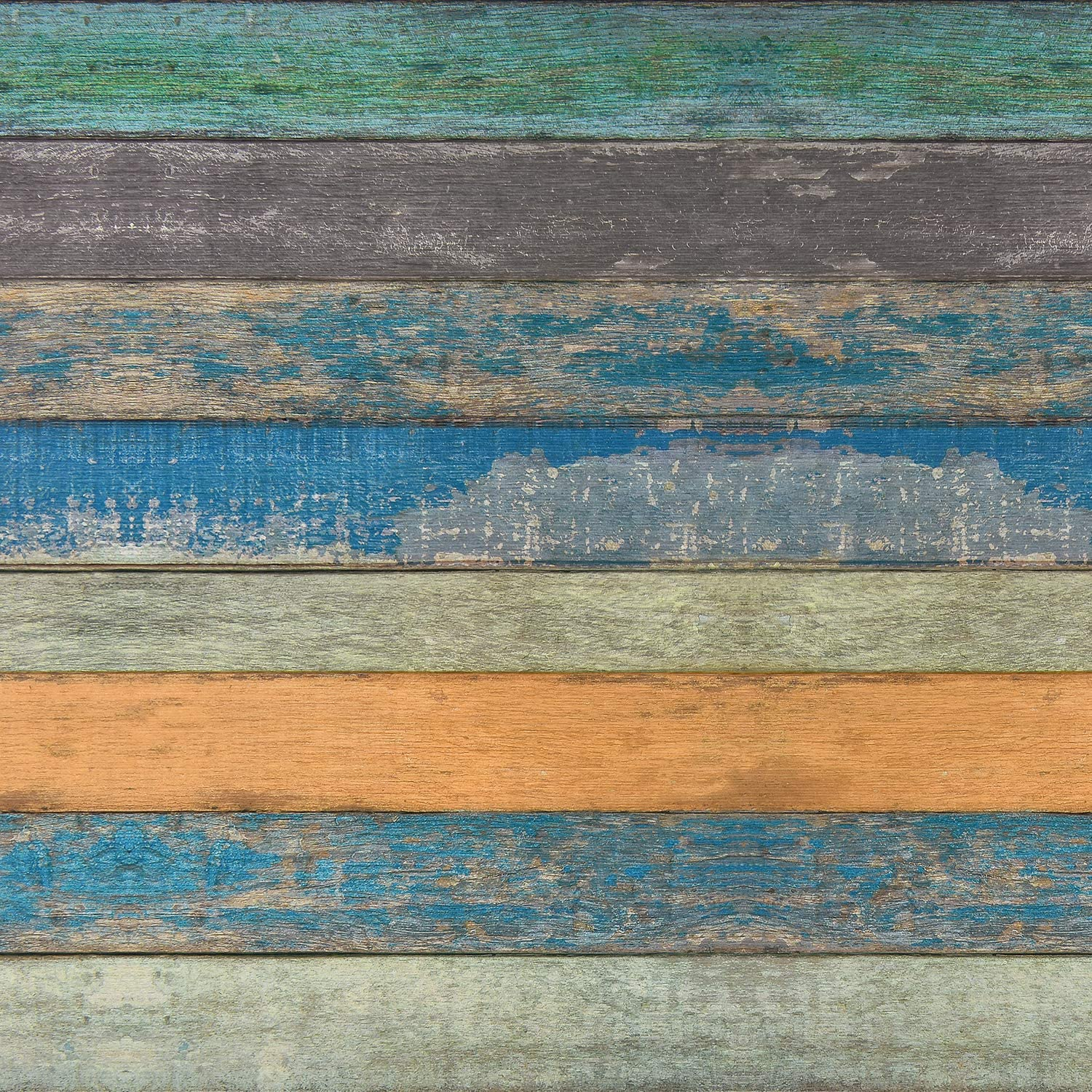 "17.71"" x 118"" Wood Plank Contact Paper Distressed Wood Textured Peel and Stick Wallpaper Blue Green Yellow Strips Self-Adhesive Contact Paper for Walls Shelves Drawers Furniture Room"