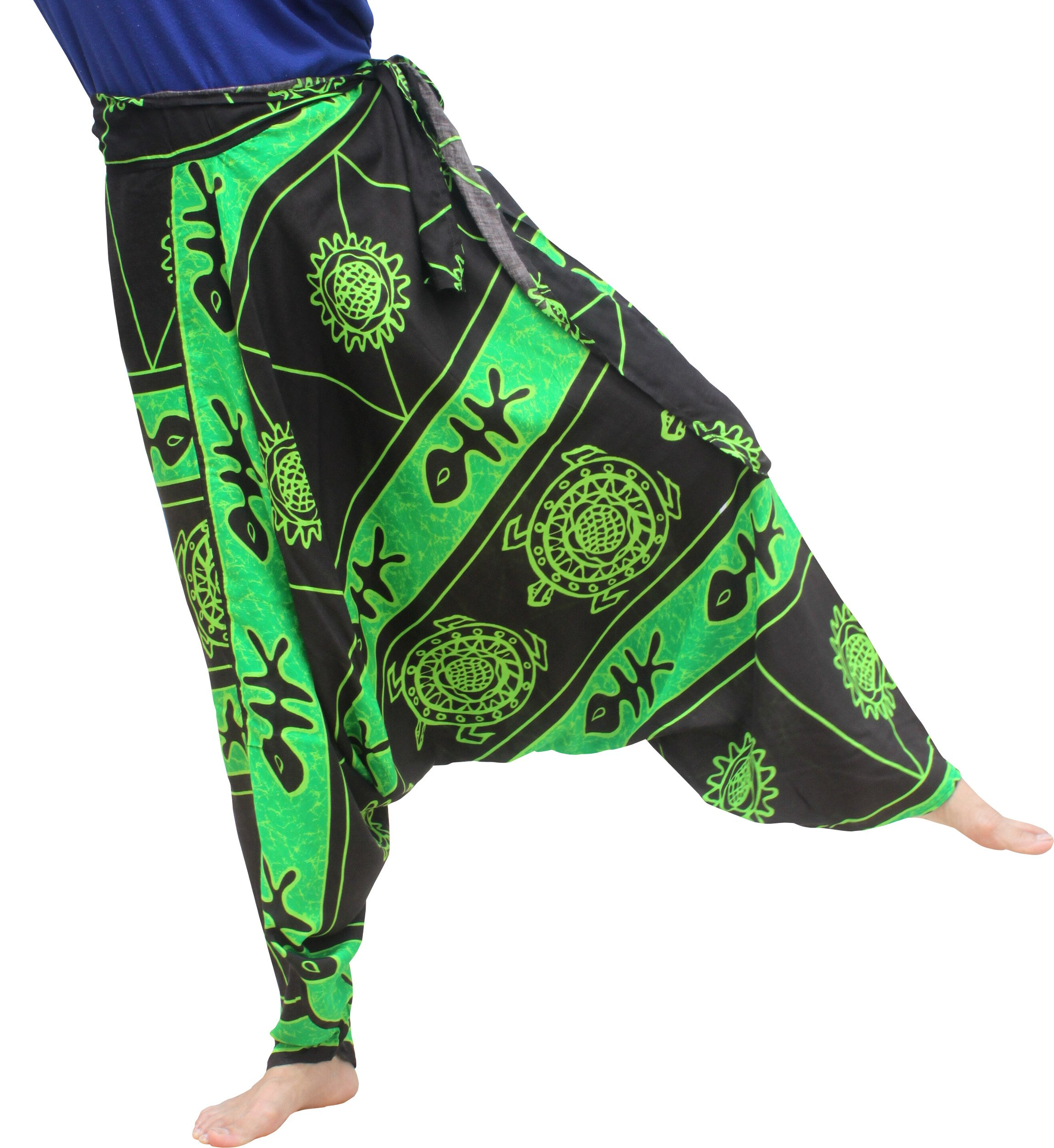Raan Pah Muang Mixed Art Baggy Side Tie Mao Hmong Hill Tribe Harem Pants All Size, X-Large, Turtle Green Black by Raan Pah Muang