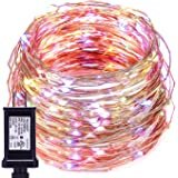 String Lights For Bedroom,Oak Leaf 39.2ft 120 LEDs Multi Colors Copper Wire Waterproof Decor Rope Lights,Great for Garden,Home,Patio,Party,with UL Certified 3.5v Power Adapter