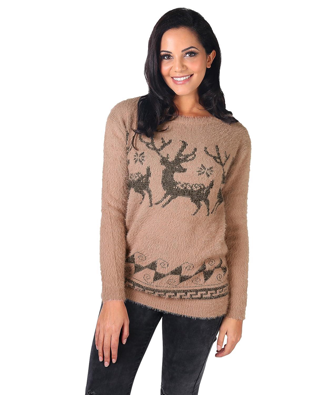 8a726a6b6438 KRISP 5838-TAU-SM  Reindeer Fluffy Christmas Jumper Taupe  Amazon.co ...