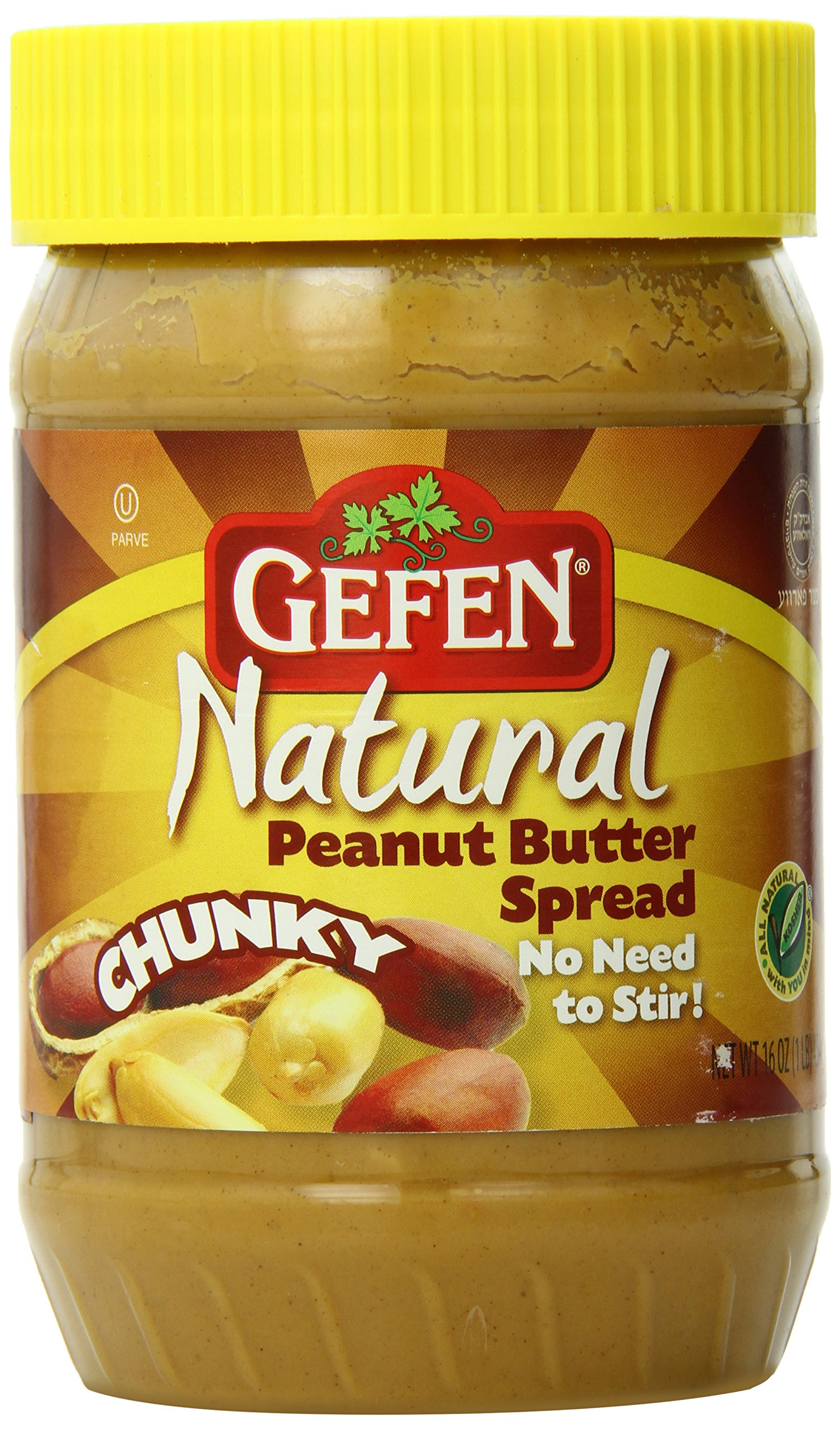 Gefen All Natural Peanut Butter, Chunky, 16 Ounce by Gefen (Image #1)