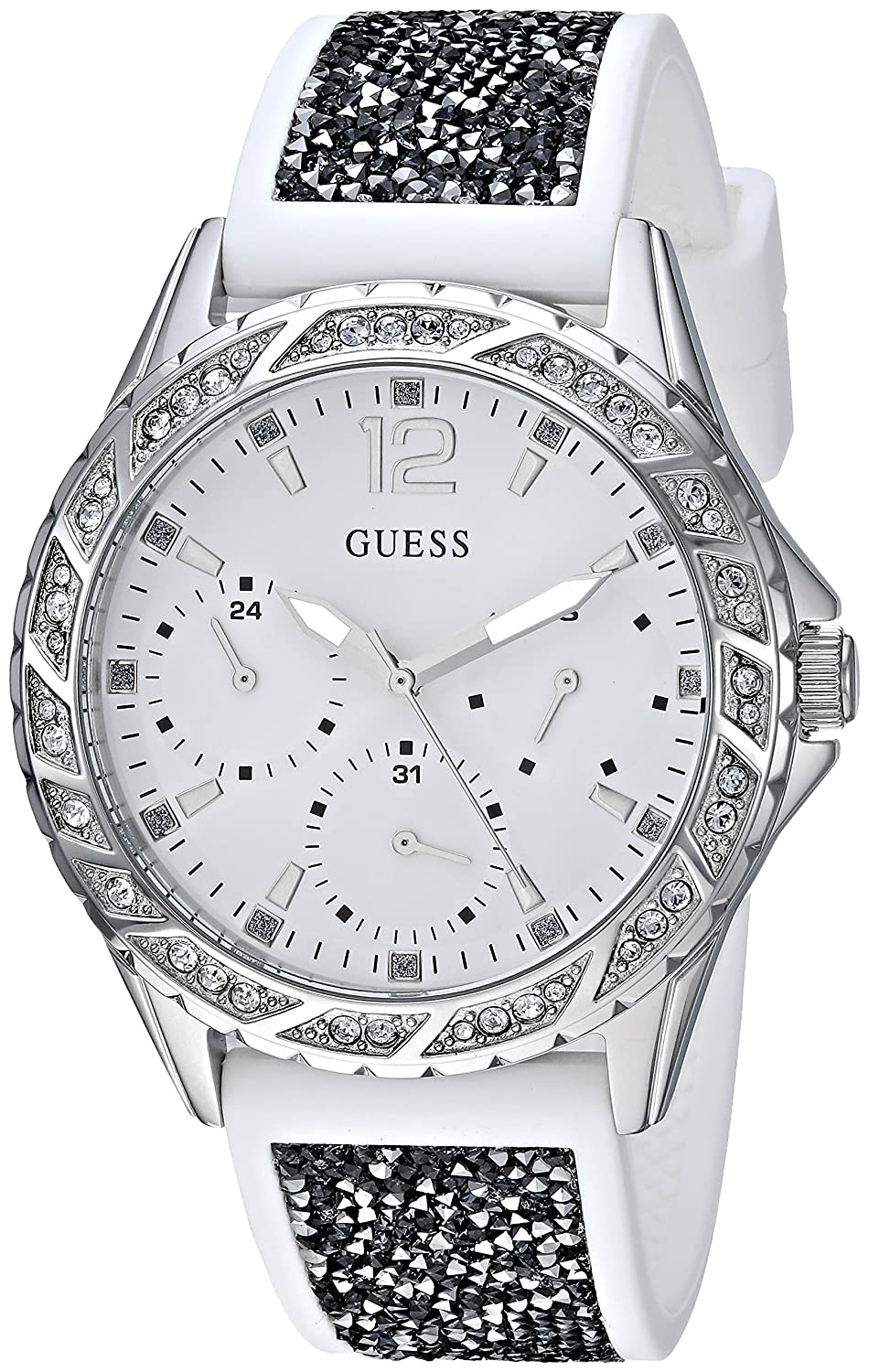 4e1e5b35de17 Amazon.com  GUESS Women s Stainless Steel Japanese-Quartz Watch with  Silicone Strap