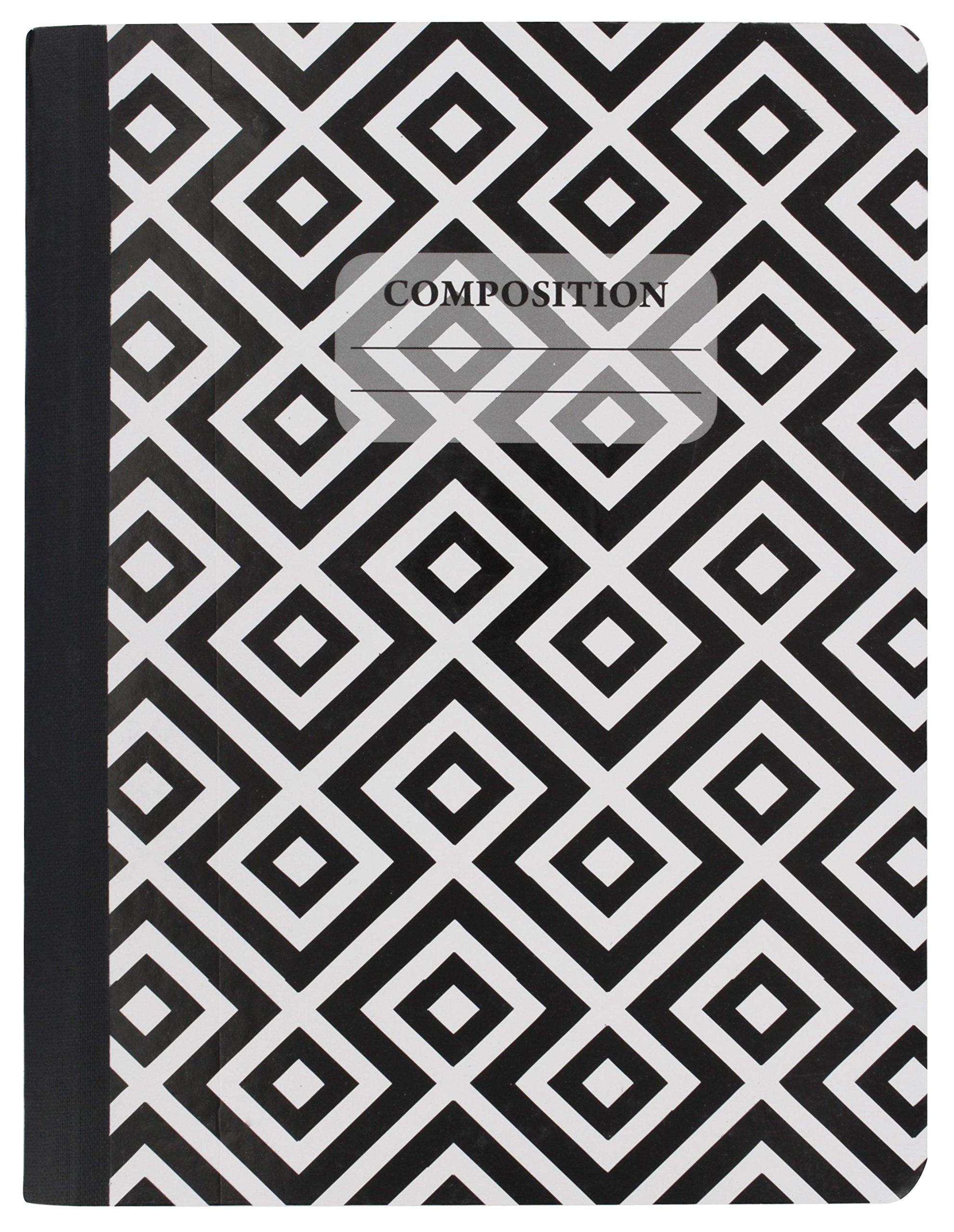 Emraw Black & White 4 Fashion Styles Cover Composition Book with 100 Sheets of Wide Ruled White Paper - Set Includes All Style Covers (4 Pack) by Emraw (Image #5)