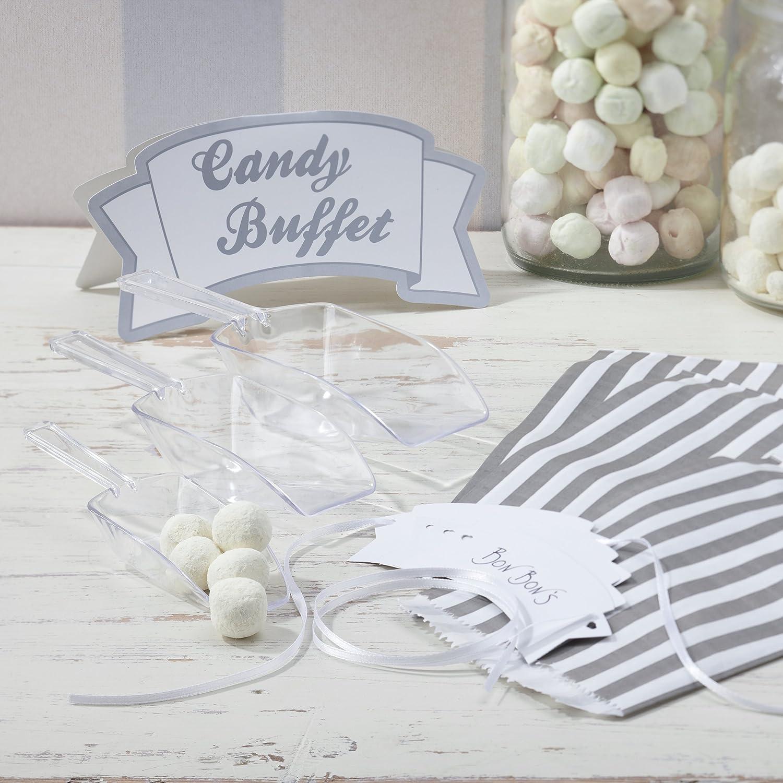 dos pinzas 100 bolsas para candy bar de estilo victoriano vintage Kit para fiestas tama/ño grande con 12 frascos surtidos dos palas