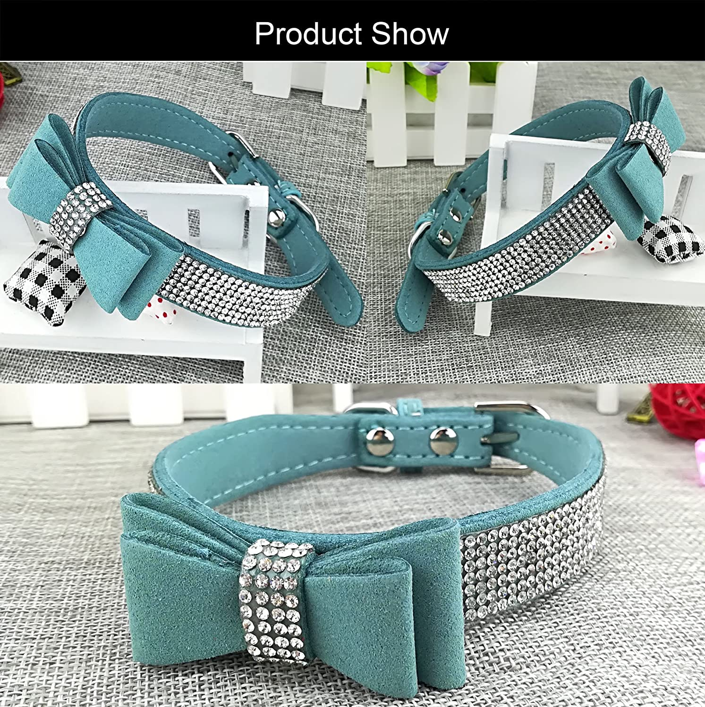 Newtensina Collare di cane di moda e guinzaglio con fiocco Guinzaglio del collare del cucciolo di Bling con larco per il cane