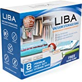LiBa Vacuum Storage Bags (Pack of 8) with FREE Hand Pump - for Clothes Blankets Duvets Comforters Pillows Travels, Works with Any Vacuum Cleaner, Save Space by 80% (1, Jumbo)