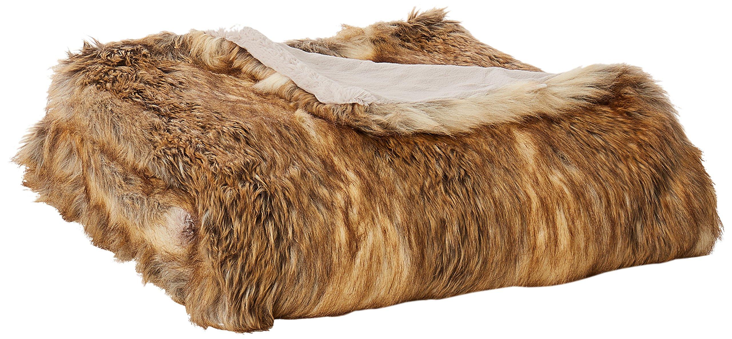 Best Home Fashion Faux Fur Throw - Lounge Blanket - Amber Fox - 58''W x 60''L - (1 Throw)